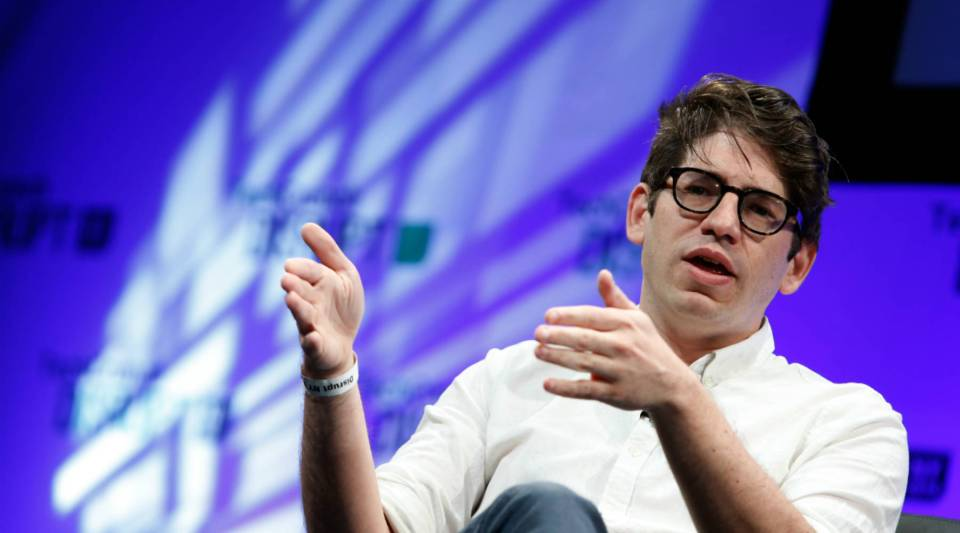 Co-founder and CEO of Kickstarter Yancey Strickler speaks at a TechCrunch event in New York City.