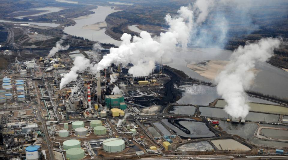 An aerial view of the Suncor oil sands extraction facility near the town of Fort McMurray in Alberta, Canada.