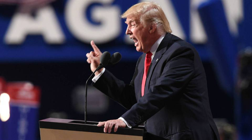 Republican presidential nominee Donald Trump at the final night of the Republican National Convention on Thursday.