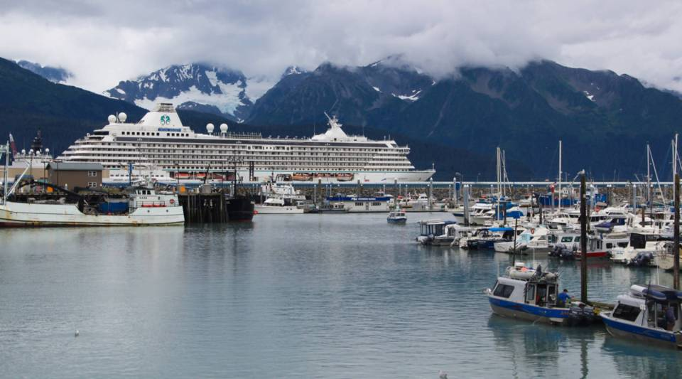 The Crystal Serenity hours before leaving Seward, Alaska on Tuesday, August 16. It's the largest cruise ship by far to attempt the Northwest Passage.