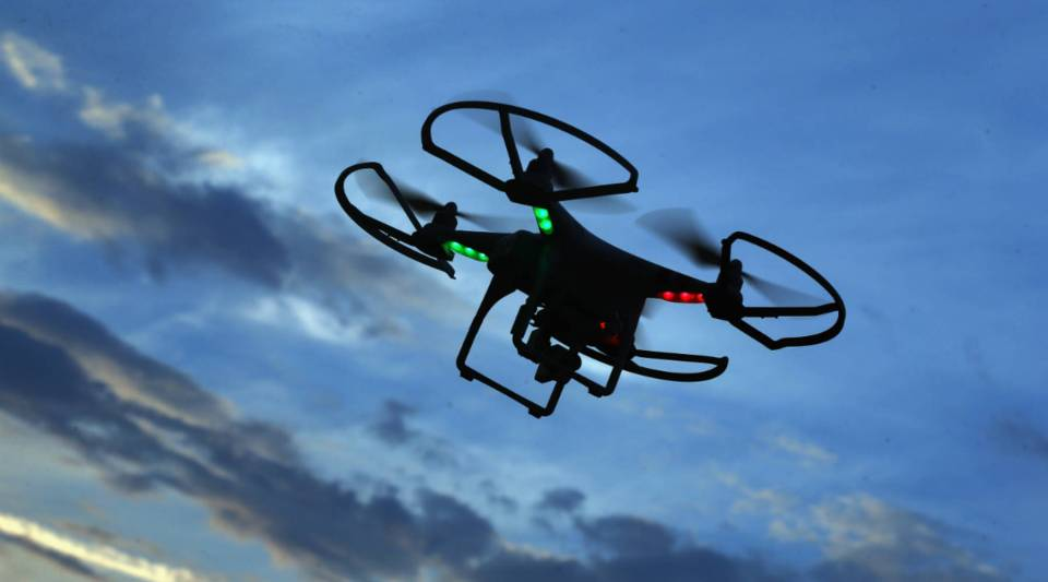 A drone is flown for recreational purposes in the sky above Old Bethpage, New York.