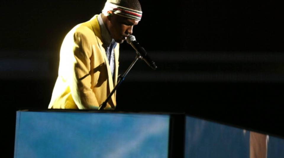 Frank Ocean performs onstage during the 55th Annual GRAMMY Awards at STAPLES Center on February 10, 2013 in Los Angeles, California.