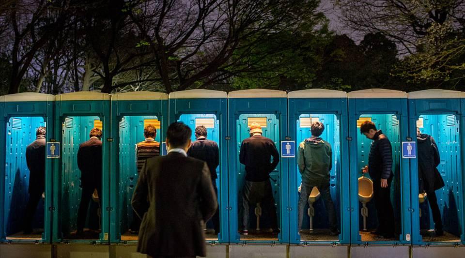Portable toilets in Ueno Park, on April 3, 2015 in Tokyo, Japan.