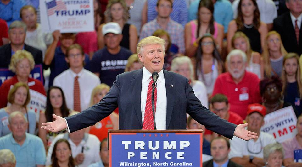 """Republican presidential candidate Donald Trump addresses the audience during a campaign event on August 9, 2016 in Wilmington, North Carolina. During the rally Trump remarked that """"second amendment people"""" could put a stop toopponentHIllary Clinton's pro-gun-control policies and judicial appointments."""