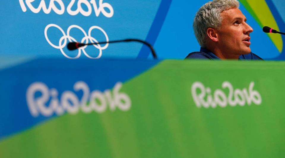 Ryan Lochte of the United States attends a press conference at the Rio Olympics on Aug. 12.