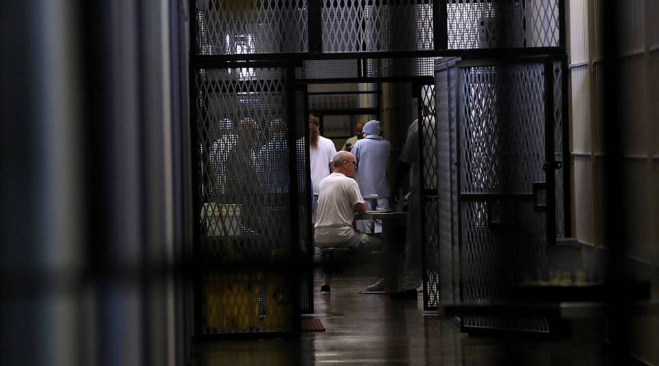 Condemned inmates sits in housing block at San Quentin State Prison's death row on August 15, 2016 in San Quentin, California.