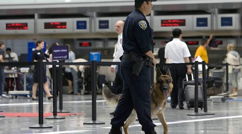 A San Francisco police officer and police dog patrol San Francisco International Airport.