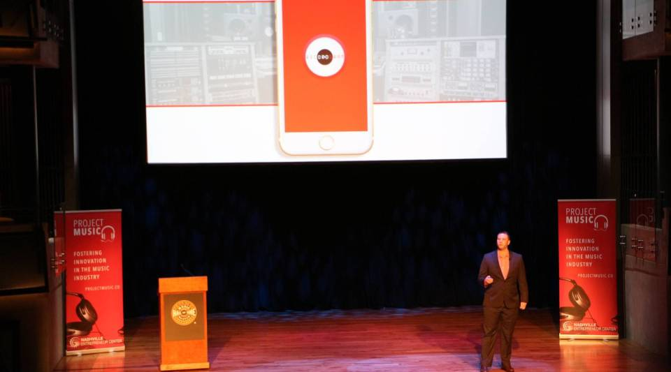 Erik Mendelson pitches his music app company, RecordGram, to an auditorium of investors at the Country Music Hall of Fame in May.