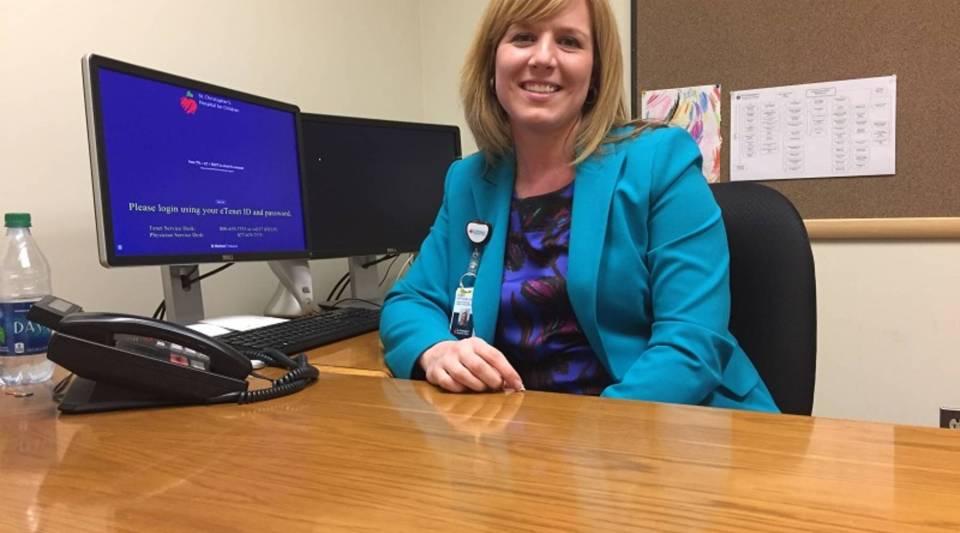 Cheryl Kettinger in her new office at St. Christopher's Hospital for Children in North Philadelphia.