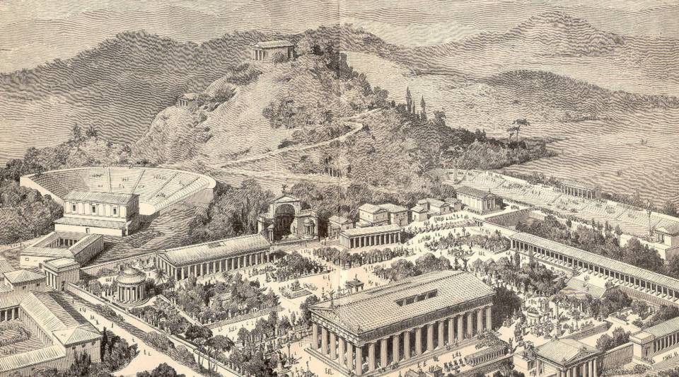 An artist rendering of ancient Olympia.