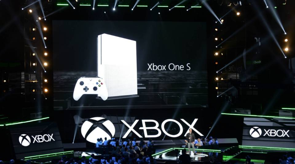 Phil Spencer, head of Xbox, announces the new Microsoft Xbox One S game console during a news conference in June.