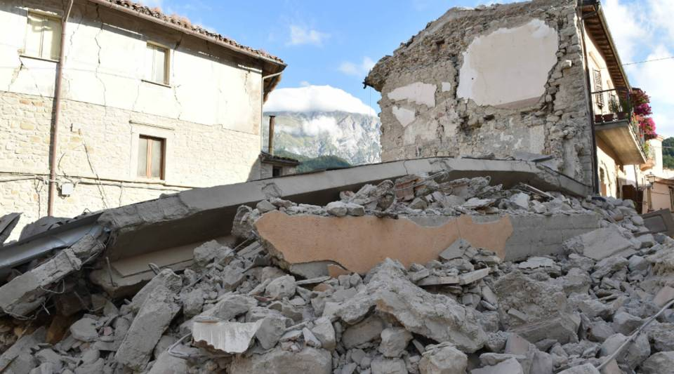A view of buildings damaged by the earthquake on Wednesday in Arquata del Tronto, Italy.