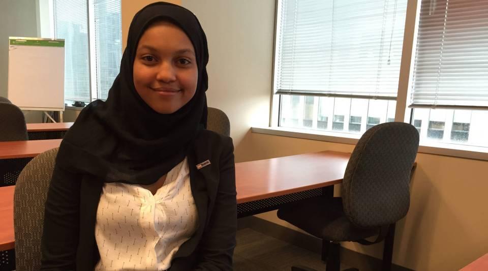 Fatima Ahmad, 18, is a Wallin scholar and intern at U.S. Bank.
