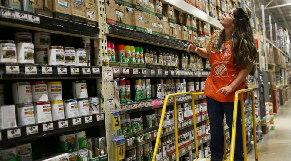 A Home Depot employee at a store in Miami, Florida.