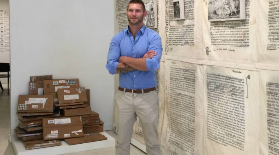 Pennsylvania artist Jesse Krimes at his art show in Chelsea.