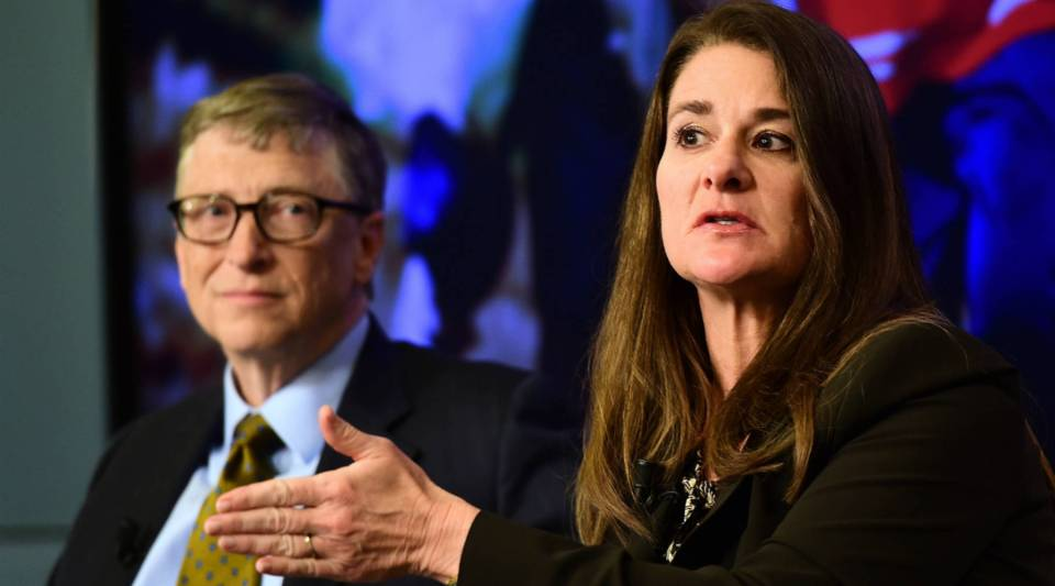 """Bill and Melinda Gates, founders of the Bill & Melinda Gates Foundation, take part in a discussion organized by """"The Economist"""" about expected breakthroughs in health, education, farming and banking."""