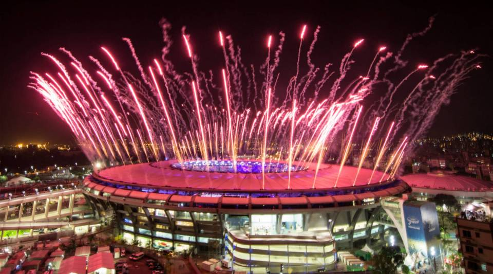 Fireworks explode over the Maracana Stadium during the opening ceremony of the Rio 2016 Olympic Games in Brazil.