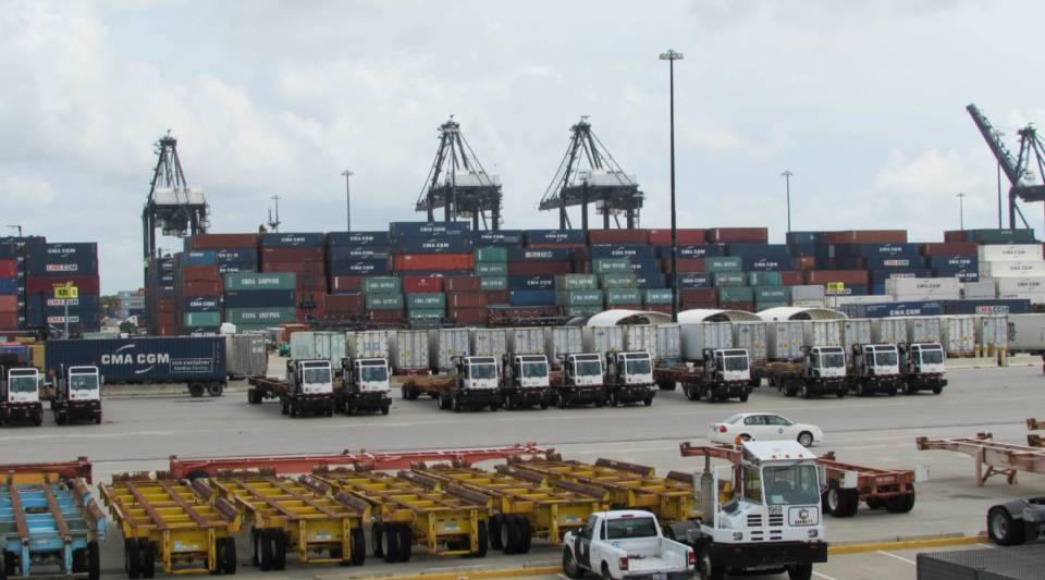 The Port of Houston's Bayport Container Terminal features nine new cranes that can load and unload post-Panamax ships.
