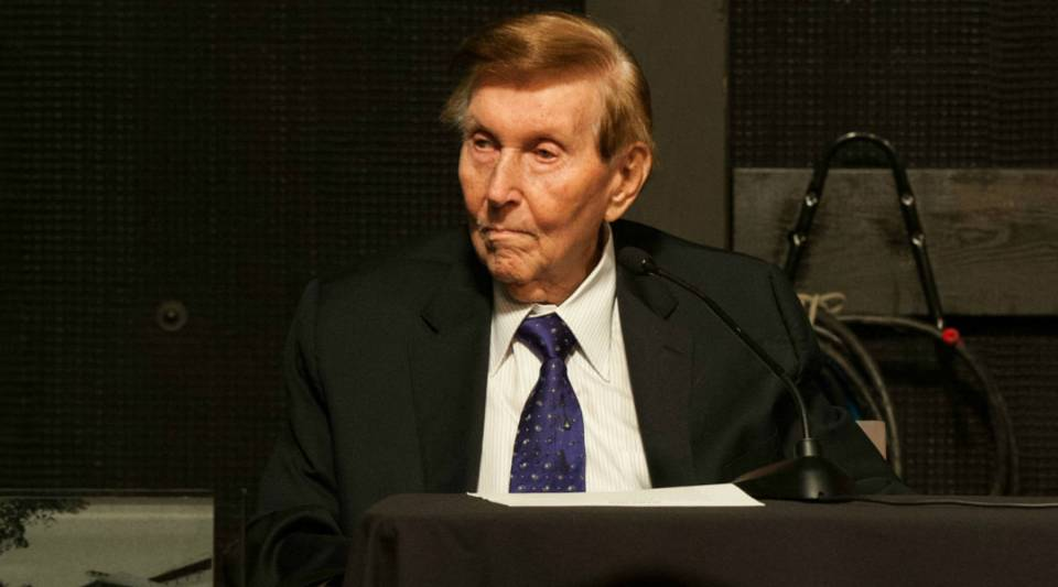 Sumner Redstone attends the dedication of the Sumner M. Redstone Production Building at USC back in 2013.