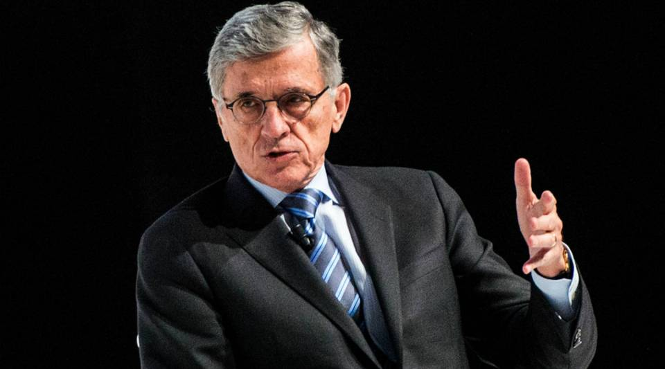 Chairman of the Federal Communications Commission Tom Wheeler speaking at the Mobile World Congress 2015.
