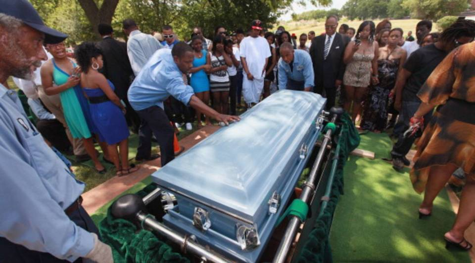 A young victim of Chicago's gun violence is laid to rest.