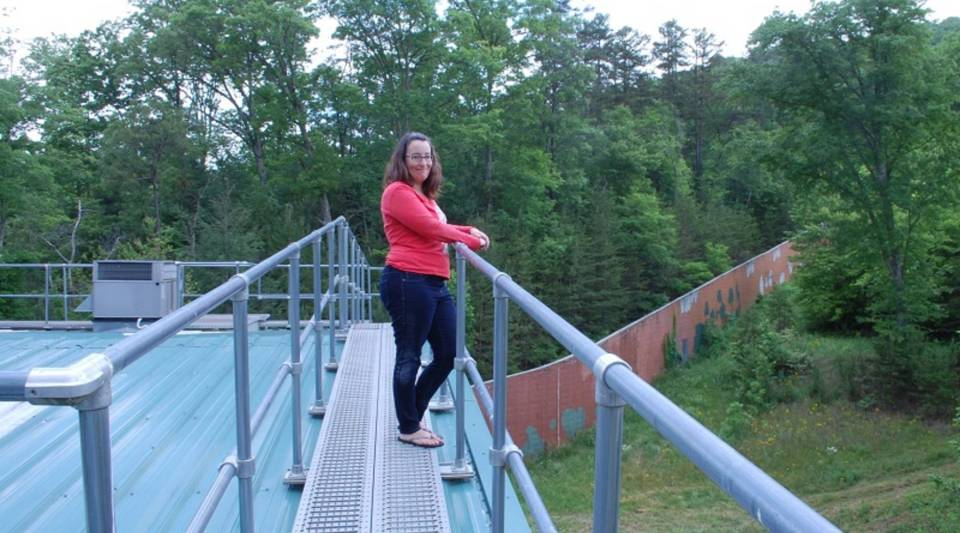Sarah Baeckler Davis at a sanctuary in North Georgia for chimps retiring from private research labs.