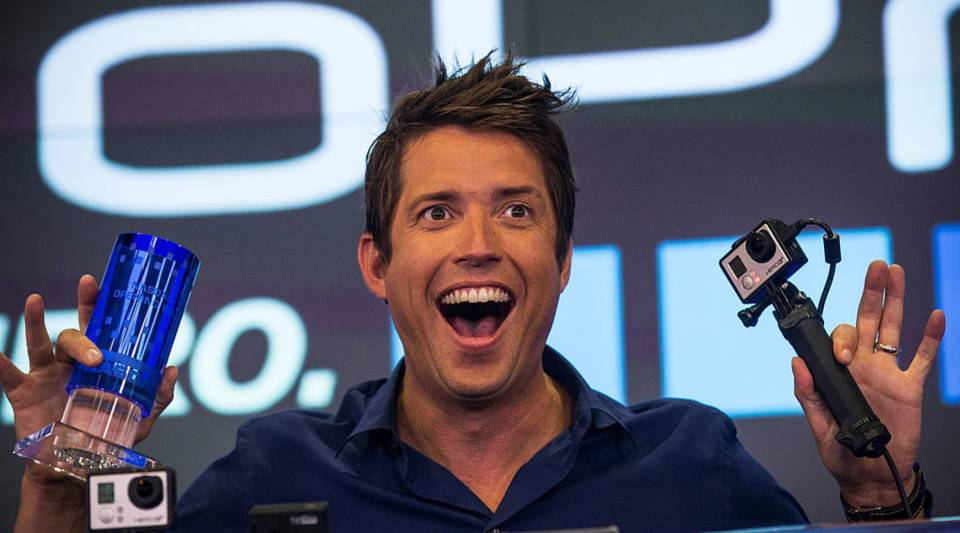 Nick Woodman, founder and CEO of GoPro speaks during the company's initial public offering (IPO) at the Nasdaq Stock Exchange on June 26, 2014. The struggling company is expected to release a drone on Monday.