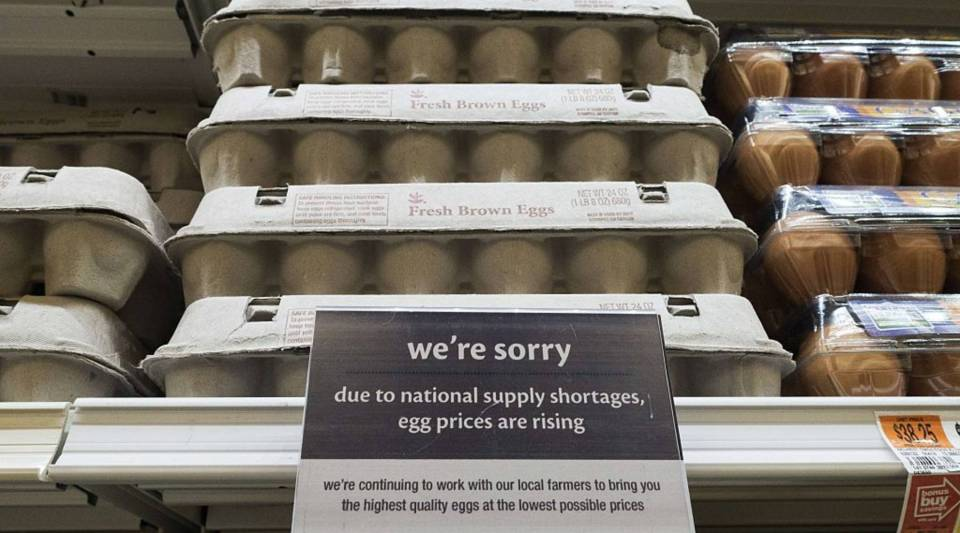 A notice that the price of eggs will be rising soon is seen at a Giant grocery store in Clifton, Virginia. In 2015, widespread outbreaks of Avian Flu costed poultry producers almost 40 million birds, causing the price of eggs to rise sharply.