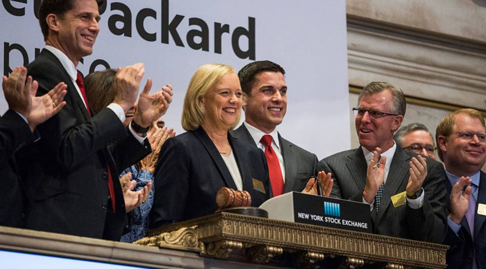 Meg Whitman, CEO of Hewlitt Packard Enterprise, rings the opening bell at the New York Stock Exchange in 2015. HPE will sell the software portion of its business to Micro Focus in a deal worth $8.8 billion.