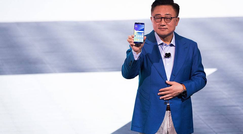 DJ Koh, president of mobile communications business at Samsung, holds a Samsung Galaxy Note 7 as he speaks during a launch event for the Samsung Galaxy Note 7.