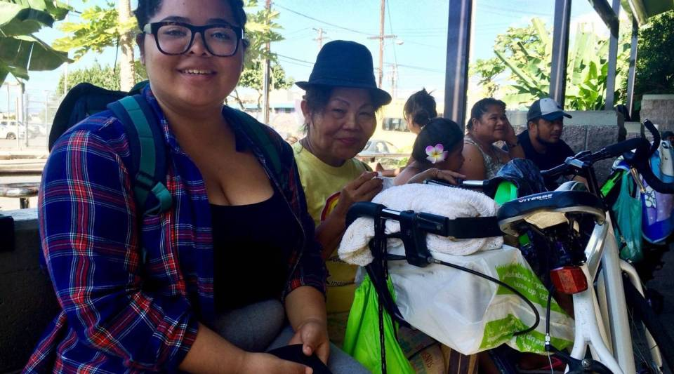 Malia Derden and her mother Rose outside the Institute for Human Services shelter in Honolulu.
