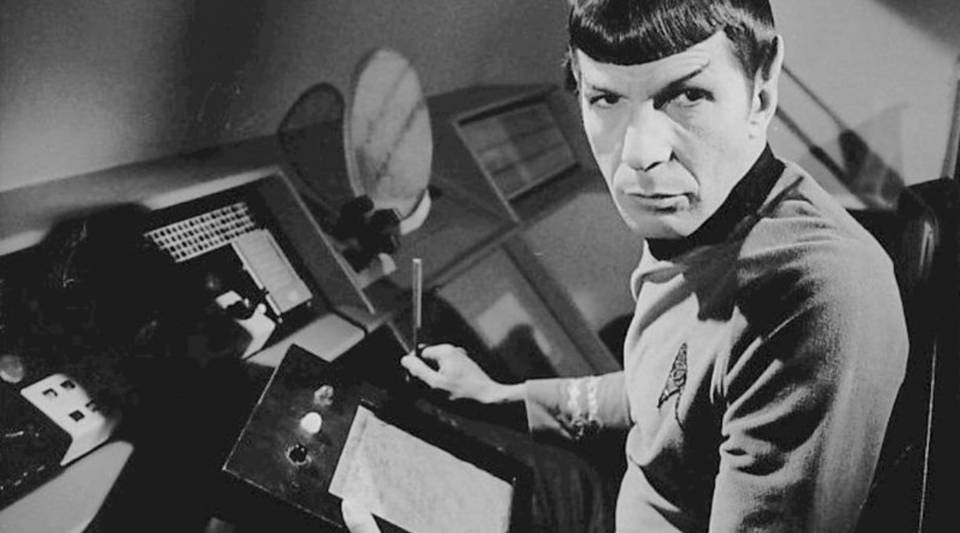 "Photo of Leonard Nimoy as Spock from the television series ""Star Trek."""