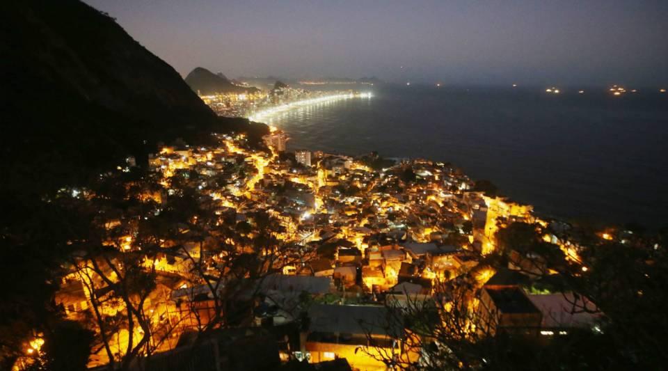 Lights shine in the Vidigal community in Rio de Janeiro, Brazil.