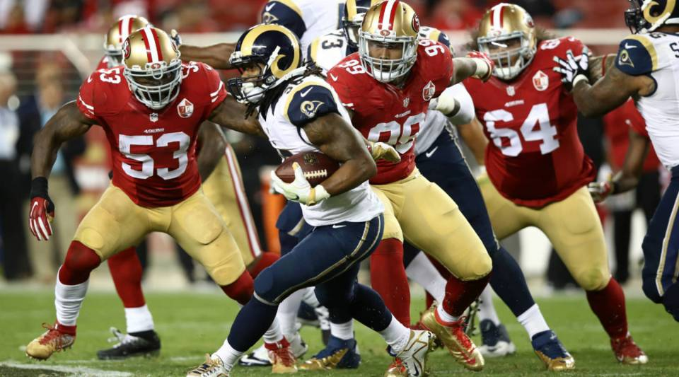 Todd Gurley #30 of the Los Angeles Rams rushes against the San Francisco 49ers during their NFL game at Levi's Stadium on Monday in Santa Clara, California.