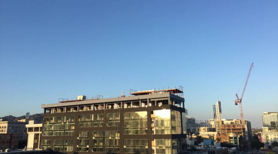 Construction of a new hotel near the intersection of Hollywood and Vine.