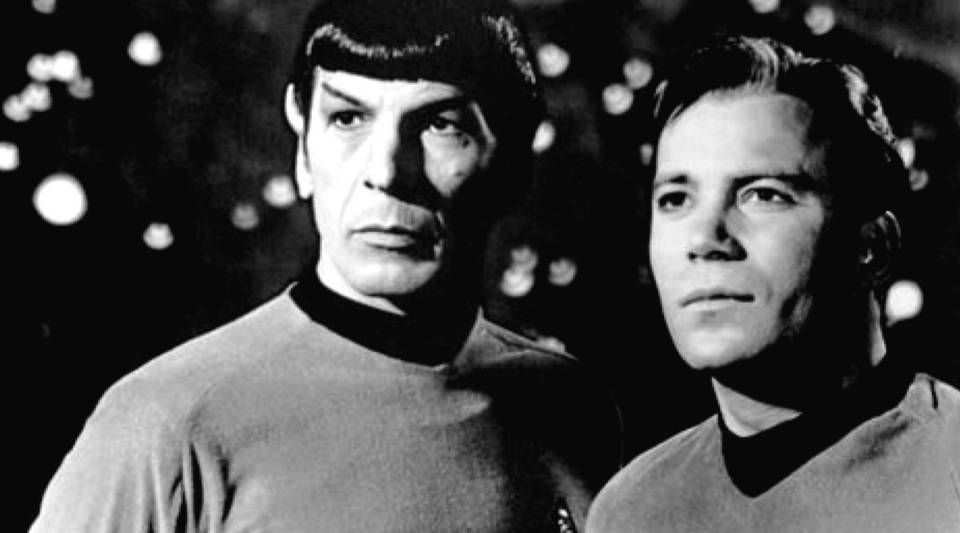 "Leonard Nimoy and William Shatner as Mr. Spock and Capt. Kirk from ""Star Trek."""