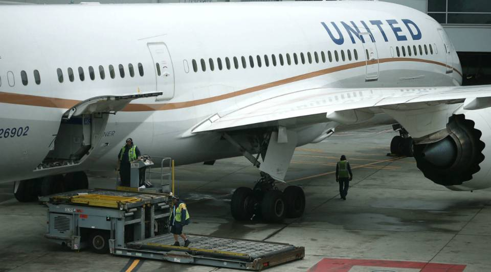 A United Airlines plane sits on the tarmac at San Francisco International Airport.