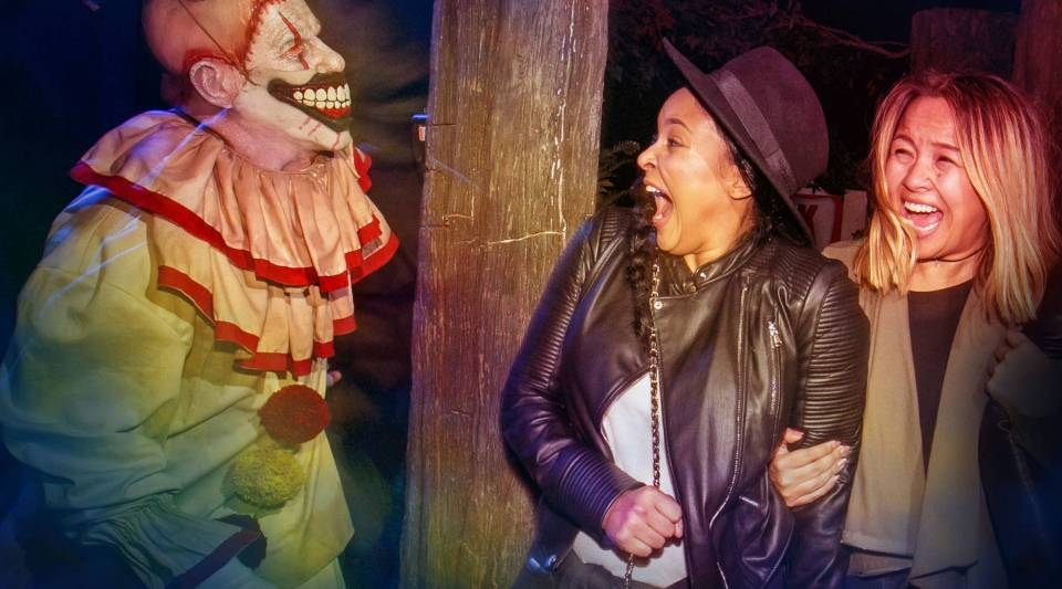 Two spooked visitors at the American Horror Story maze at Universal Studios Hollywood.