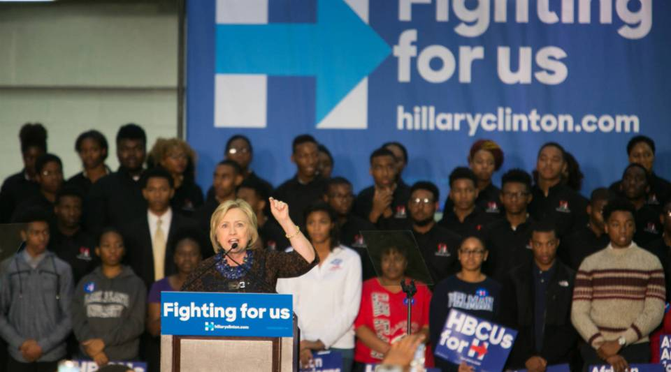 """Hillary Clinton speaks during an """"African Americans For Hillary"""" rally at Clark Atlanta University."""