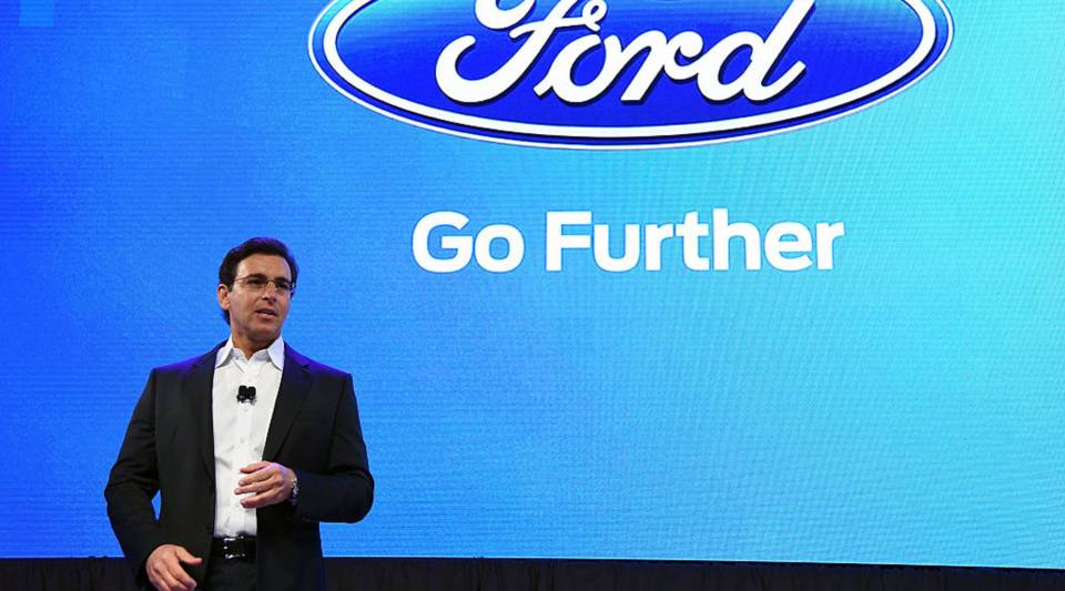 President and CEO of Ford Motor Co. Mark Fields arrives at a press event for CES 2016 at the Mandalay Bay Convention Center on January 5, 2016 in Las Vegas, Nevada.