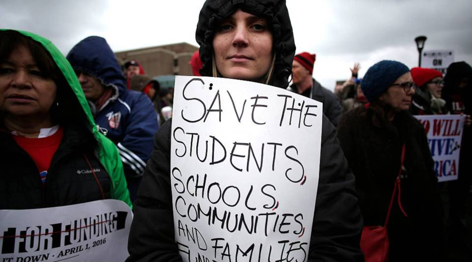 Chicago teachers picketing during a one-day strike in April.