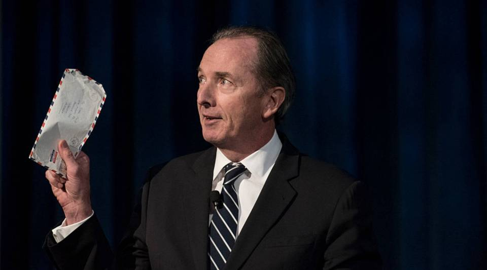 CEO of Morgan Stanley James P. Gorman makes the opening remarks prior to a conversation with the current Federal Reserve Chair Janet Yellen, former Federal Reserve Chairs Ben Bernanke, Paul A. Volcker and Alan Greenspan at the International House in New York City.
