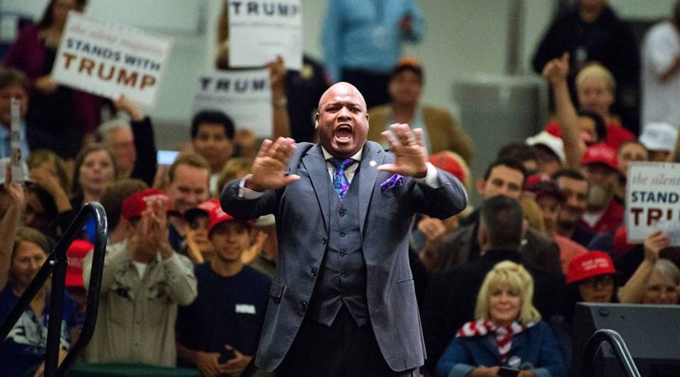 Pastor John Burns, an Evangelical Christian televangelist and surrogate for the presumptive Republican presidential candidate Donald Trump, speaks at a campaign rally in Anaheim, California.