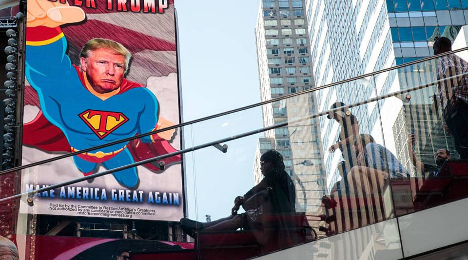 A view of a digital billboard supporting Donald Trump in Times Square, New York City. The billboard was paid for by a pro-Trump political action committee (Super PAC) called 'Committee to Restore America's Greatness.'