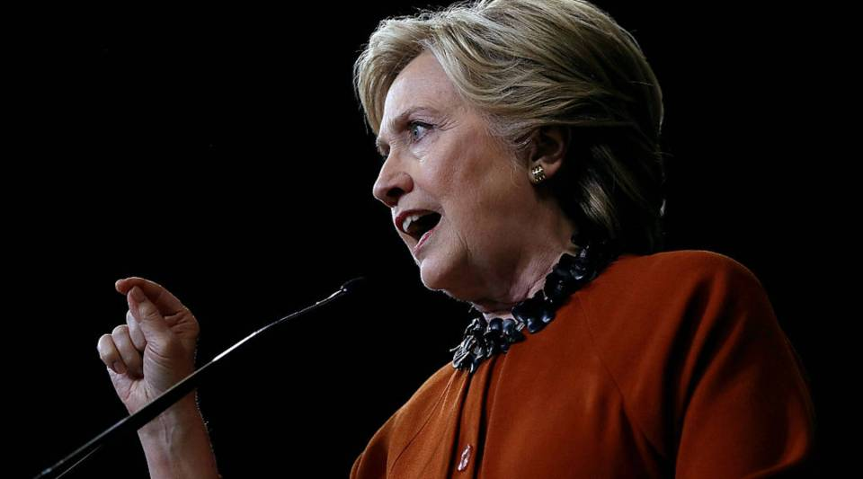 Democratic presidential nominee Hillary Clinton speaks during a campaign rally with first lady Michelle Obama at Wake Forest University on Thursday in Winston-Salem, North Carolina.