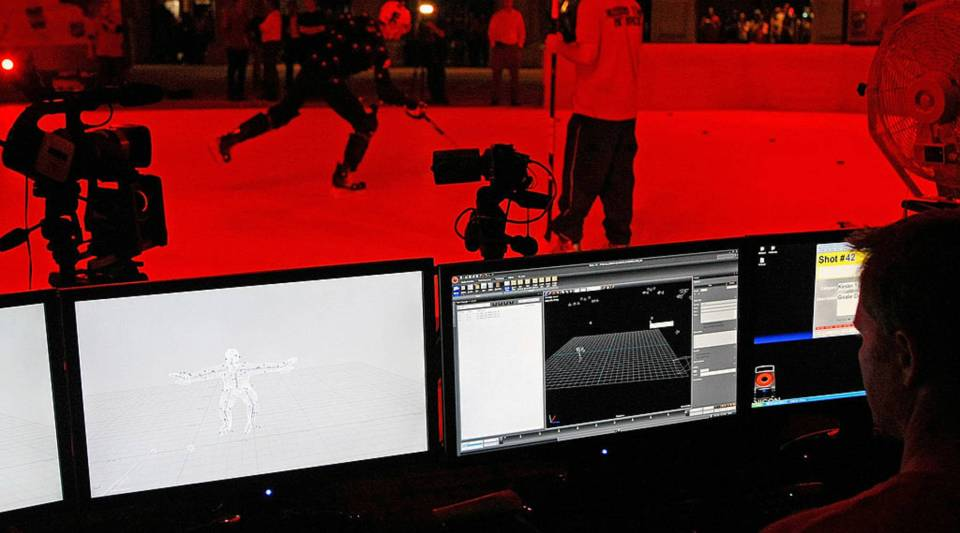"A public motion capture session for ""NHL 2K10"" in Las Vegas, Nevada."