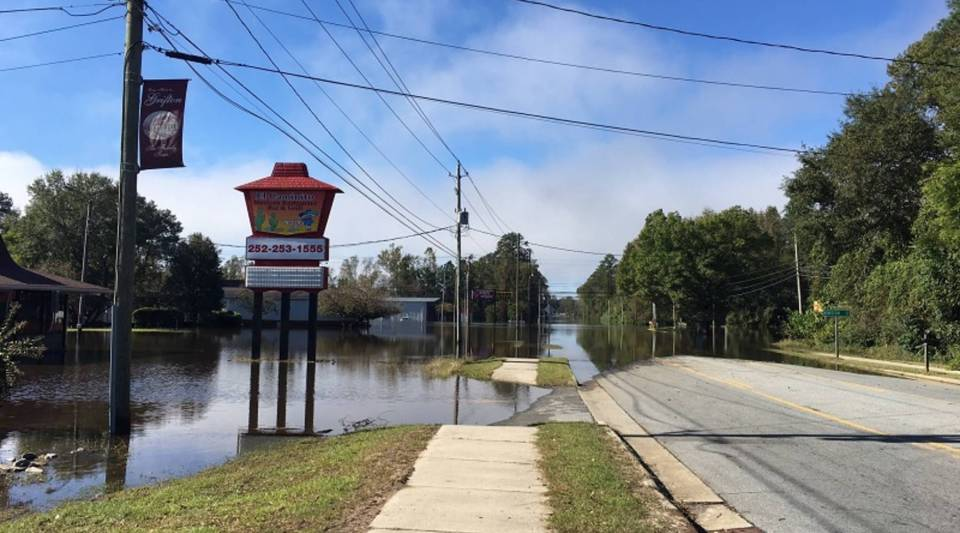 A small commercial district on the edge of downtown Grifton at the peak of the floods in the wake of Hurricane Matthew. Residents depend on shops there, especially those who don't have an easy way to get to other stores in nearby towns.