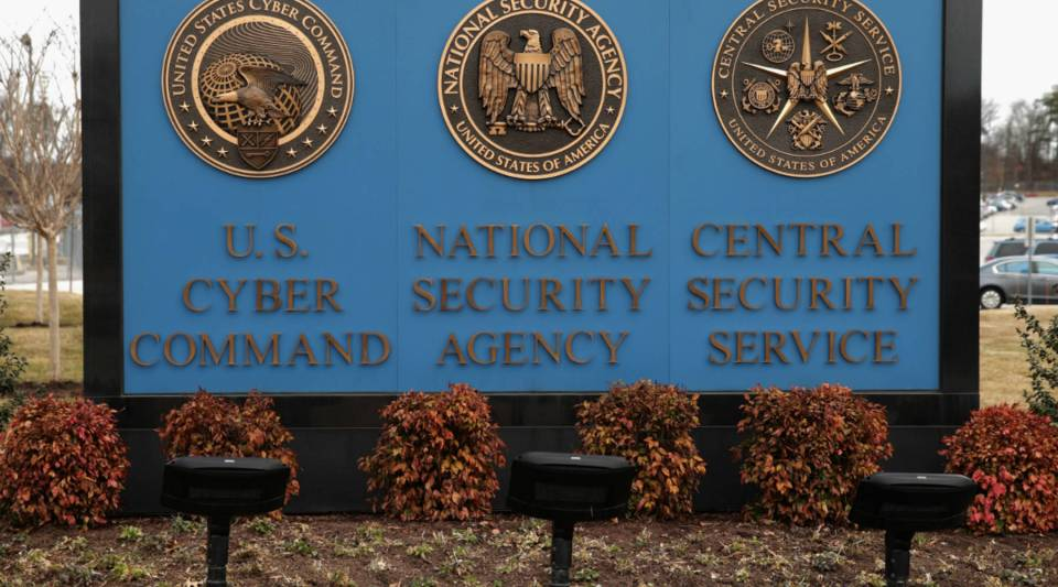 The seals of the U.S. Cyber Command, the National Security Agency and the Central Security Service greet employees and visitors at the campus the three organizations share in Fort Meade, Maryland.