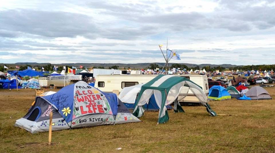 Protestors camp in tents and tepees to oppose the Dakota Access Pipeline in North Dakota