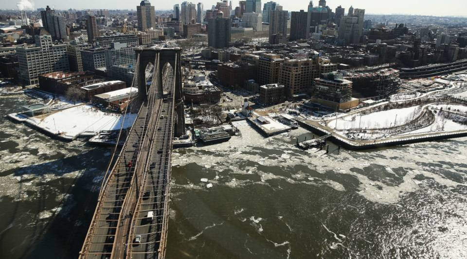 A view of the Brooklyn Bridge in New York City.